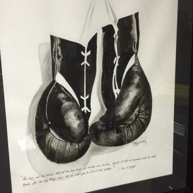Boxing Gloves Hanging in Kris Espino's Office